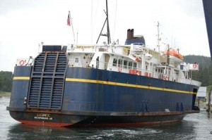 The ferry LeConte ties up at Auke Bay, Juneau's ferry terminal. Courtesy AK Transportation Department.